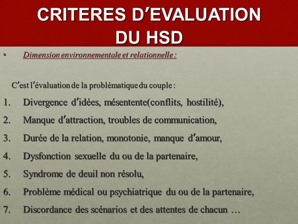 CRITERES DEVALUATION DU HSD La dimension cognitive et comportementale : Il faut évaluer : 1.
