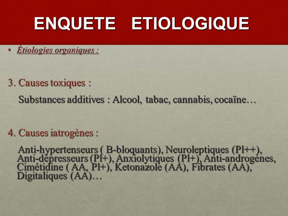 ENQUETE ETIOLOGIQUE Étiologies organiques : Étiologies organiques : 1.