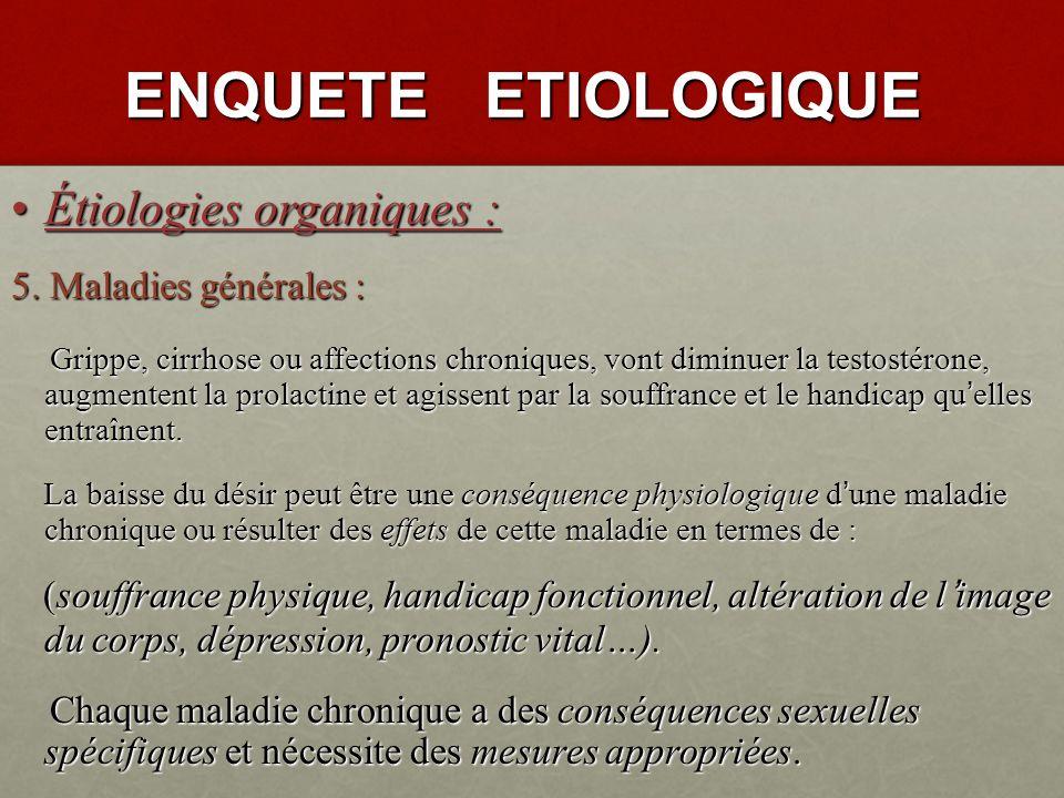 ENQUETE ETIOLOGIQUE Étiologies organiques : Étiologies organiques : 3.