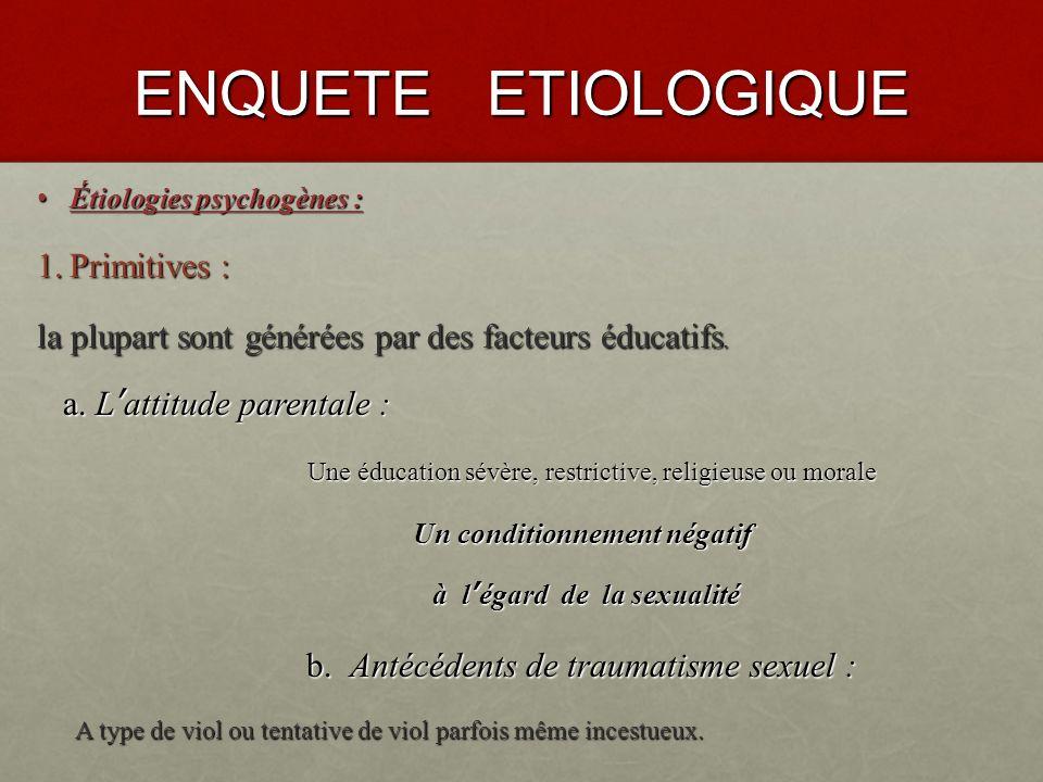 ENQUETE ETIOLOGIQUE Étiologies organiques : Étiologies organiques : 5.