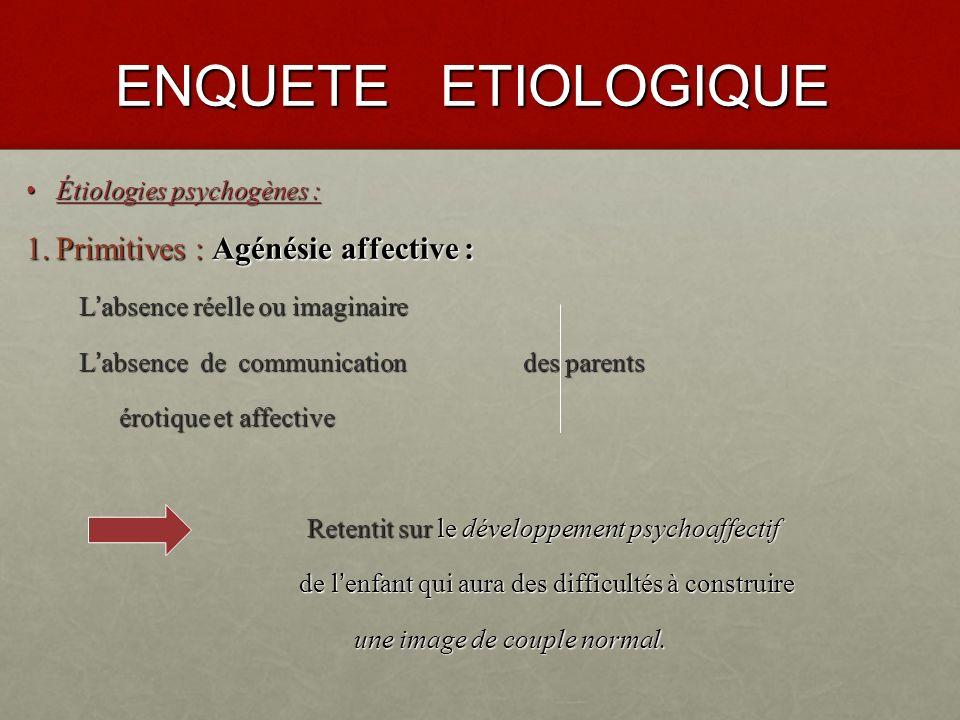 ENQUETE ETIOLOGIQUE Étiologies psychogènes : Étiologies psychogènes : 1.Primitives : la plupart sont générées par des facteurs éducatifs.
