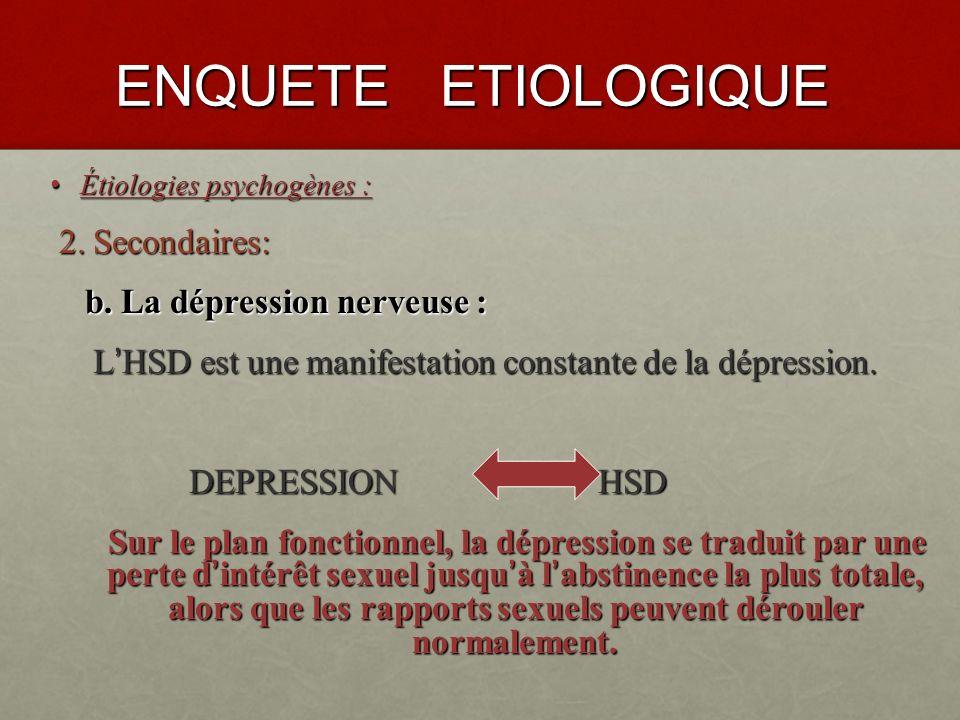 ENQUETE ETIOLOGIQUE Étiologies psychogènes : Étiologies psychogènes : 2.