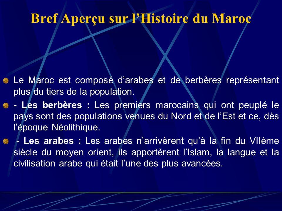 Bref Aperçu sur lHistoire du Maroc Le Maroc est composé darabes et de berbères représentant plus du tiers de la population.