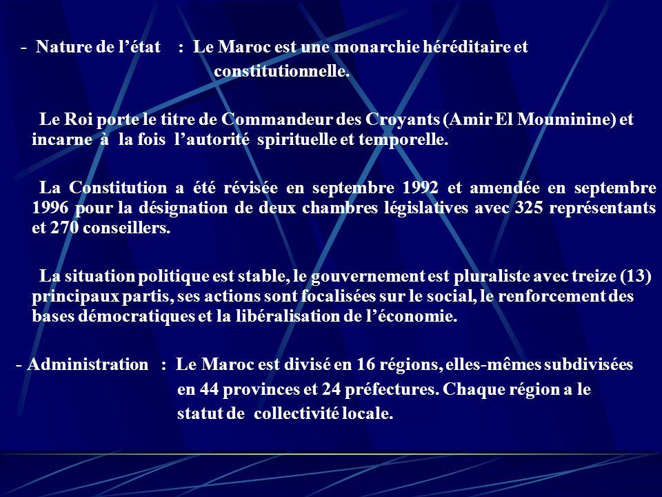 - Nature de létat : Le Maroc est une monarchie héréditaire et constitutionnelle.