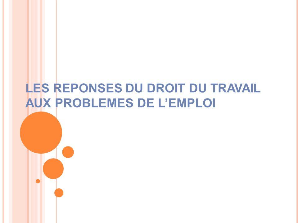 LES REPONSES DU DROIT DU TRAVAIL AUX PROBLEMES DE LEMPLOI