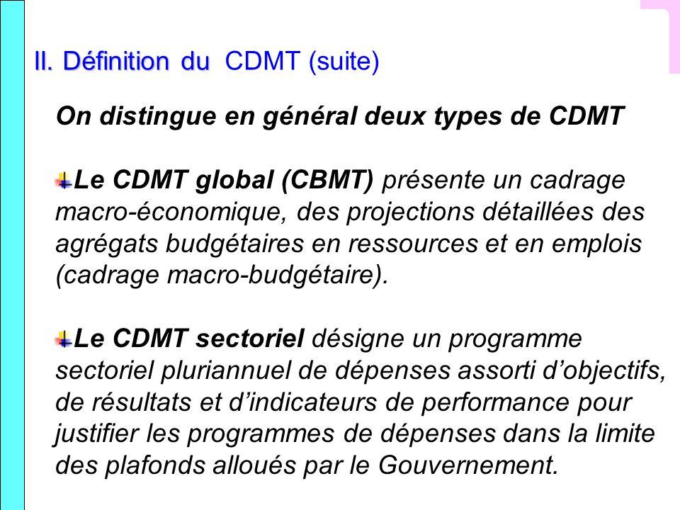 II. Définition du II. Définition du CDMT (suite) On distingue en général deux types de CDMT Le CDMT global (CBMT) présente un cadrage macro-économique