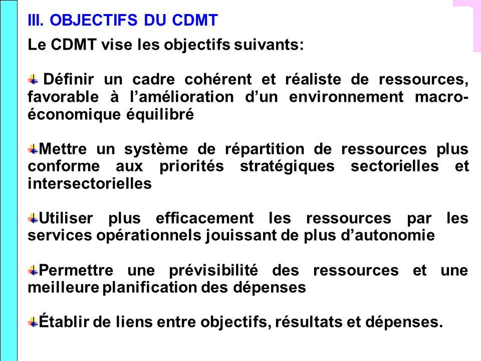 III. OBJECTIFS DU CDMT Le CDMT vise les objectifs suivants: Définir un cadre cohérent et réaliste de ressources, favorable à lamélioration dun environ
