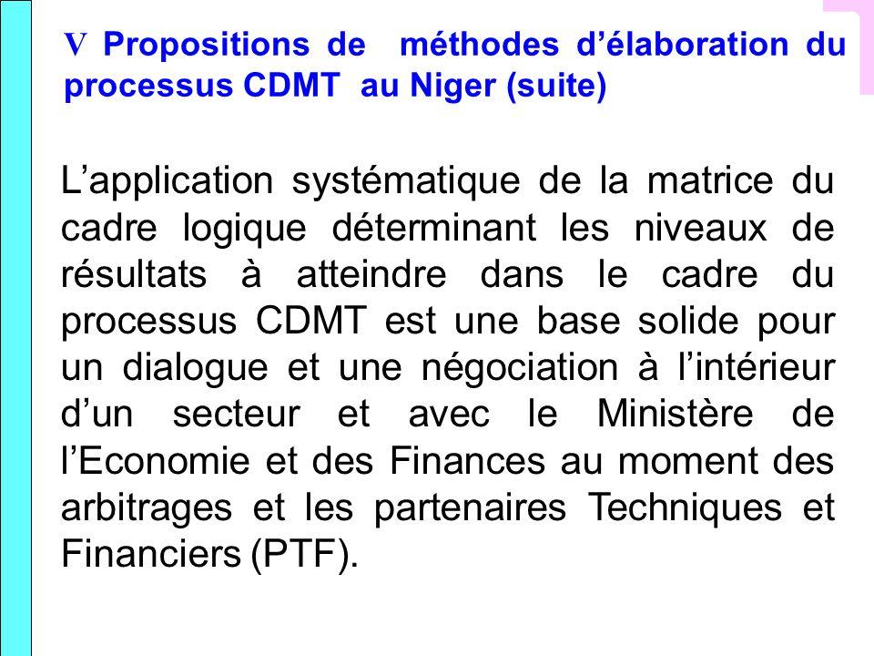 V Propositions de méthodes délaboration du processus CDMT au Niger (suite) Lapplication systématique de la matrice du cadre logique déterminant les ni