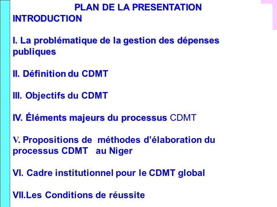 PLAN DE LA PRESENTATION INTRODUCTION I. La problématique de la gestion des dépenses publiques II. Définition du II. Définition du CDMT III. Objectifs