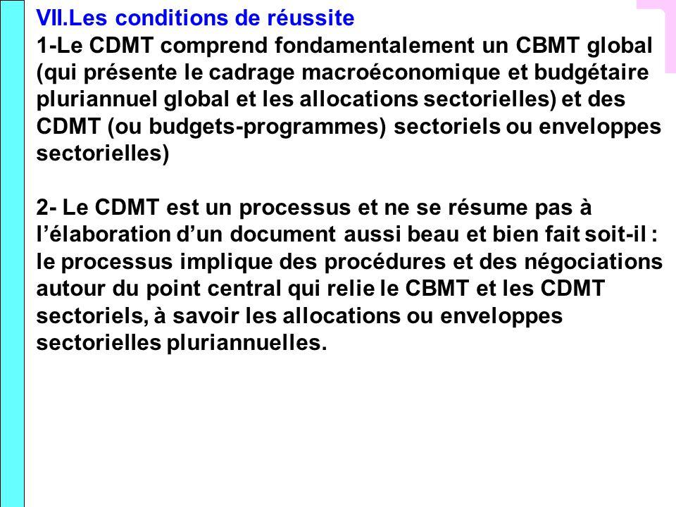 VII.Les conditions de réussite 1-Le CDMT comprend fondamentalement un CBMT global (qui présente le cadrage macroéconomique et budgétaire pluriannuel g