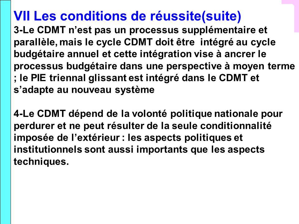 VII Les conditions de réussite(suite) 3-Le CDMT nest pas un processus supplémentaire et parallèle, mais le cycle CDMT doit être intégré au cycle budgé