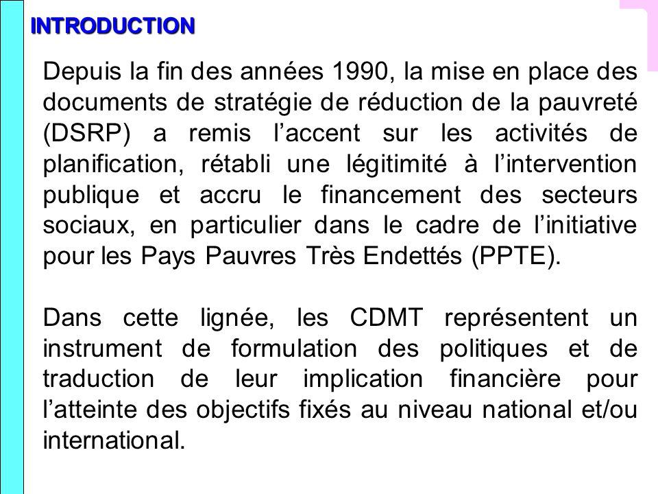 Conclusion Lexistence de stratégies globales bien formulées qui prennent en compte lensemble des dépenses du secteur concerné facilite lélaboration du CDMT.