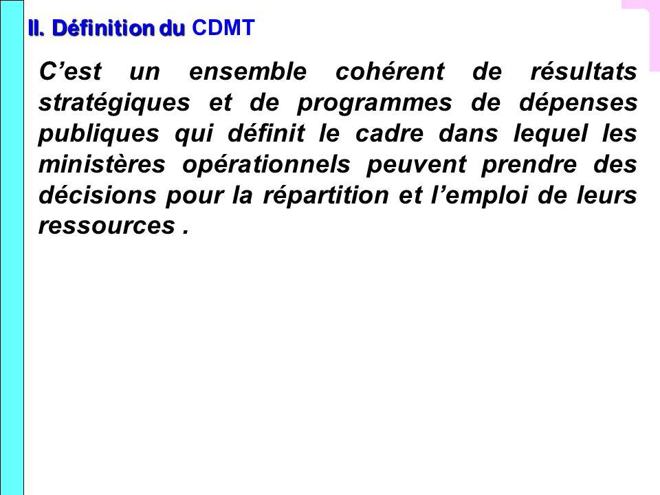 II. Définition du II. Définition du CDMT Cest un ensemble cohérent de résultats stratégiques et de programmes de dépenses publiques qui définit le cad