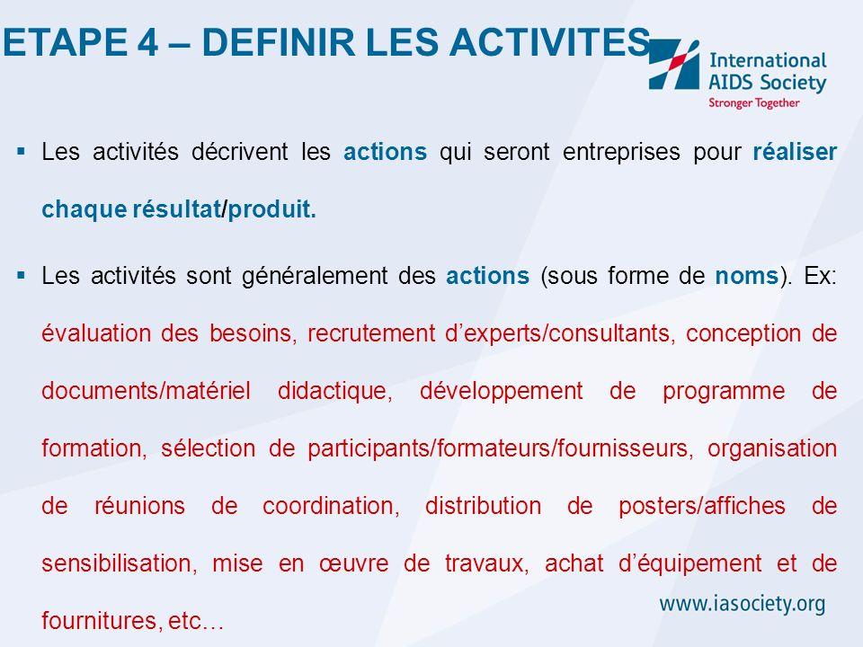 Les activités décrivent les actions qui seront entreprises pour réaliser chaque résultat/produit. Les activités sont généralement des actions (sous fo