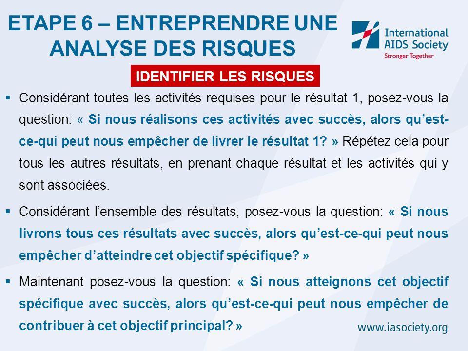 Considérant toutes les activités requises pour le résultat 1, posez-vous la question: « Si nous réalisons ces activités avec succès, alors quest- ce-q