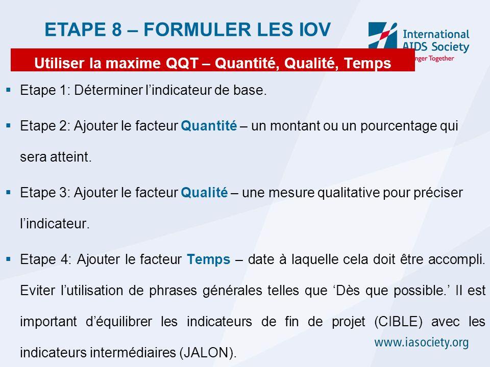 Utiliser la maxime QQT – Quantité, Qualité, Temps Etape 1: Déterminer lindicateur de base. Etape 2: Ajouter le facteur Quantité – un montant ou un pou