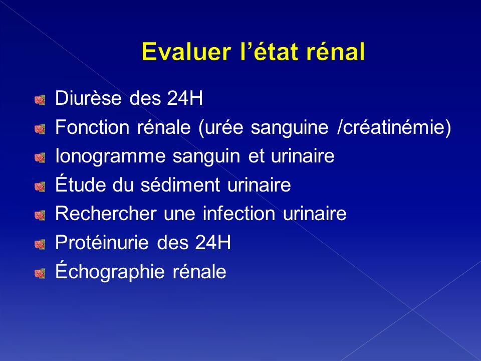 Diurèse des 24H Fonction rénale (urée sanguine /créatinémie) Ionogramme sanguin et urinaire Étude du sédiment urinaire Rechercher une infection urinai