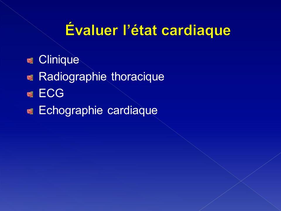 Clinique Radiographie thoracique ECG Echographie cardiaque