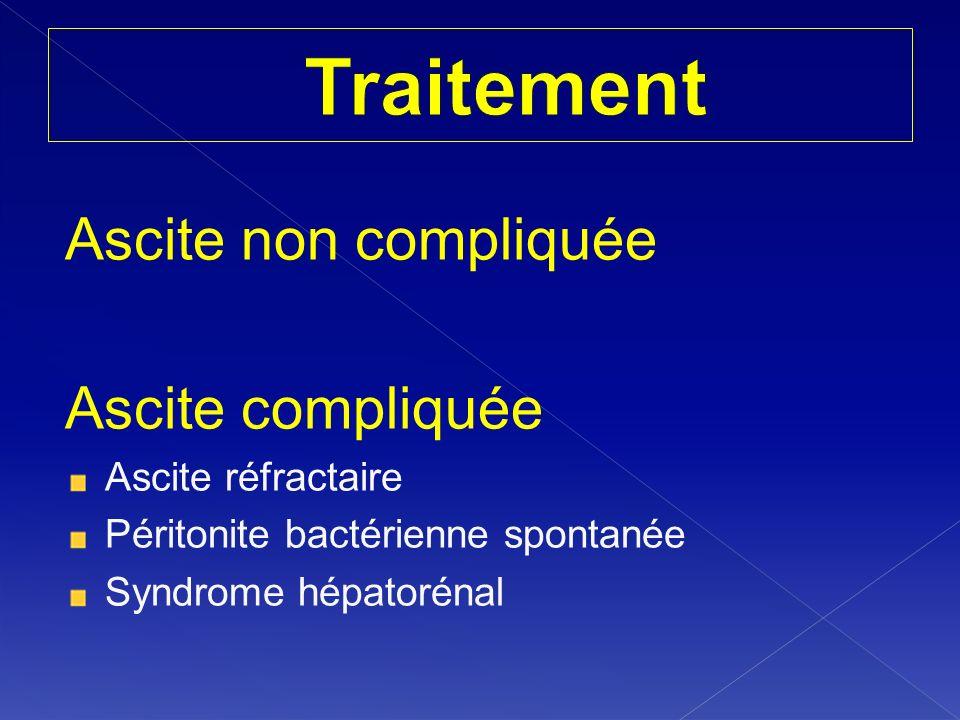 Ascite non compliquée Ascite compliquée Ascite réfractaire Péritonite bactérienne spontanée Syndrome hépatorénal