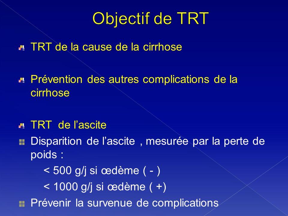 TRT de la cause de la cirrhose Prévention des autres complications de la cirrhose TRT de lascite Disparition de lascite, mesurée par la perte de poids
