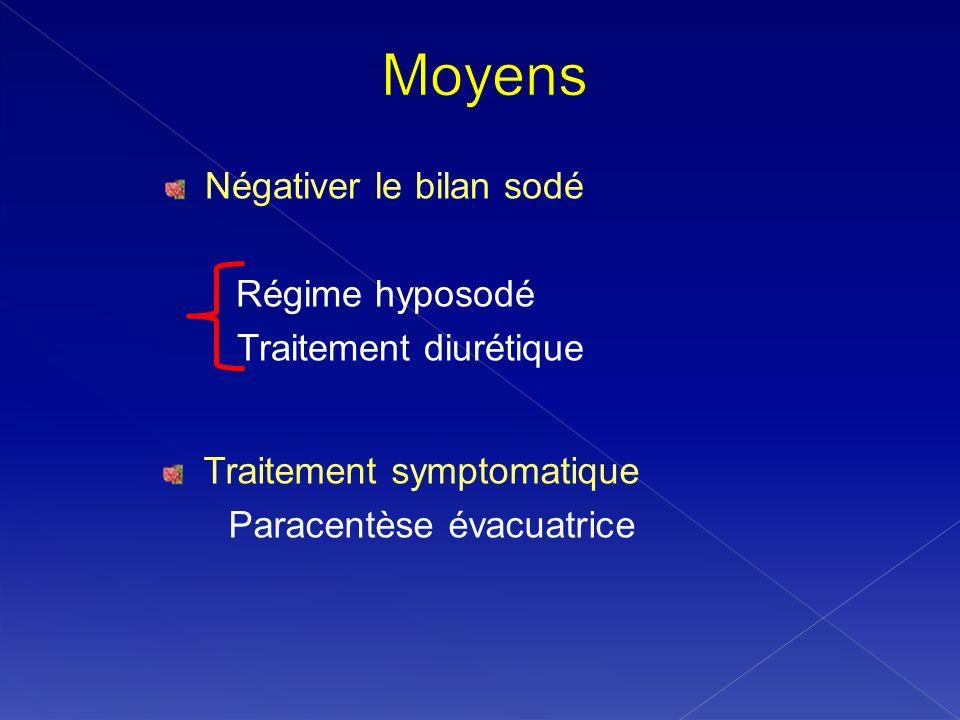 Négativer le bilan sodé Régime hyposodé Traitement diurétique Traitement symptomatique Paracentèse évacuatrice