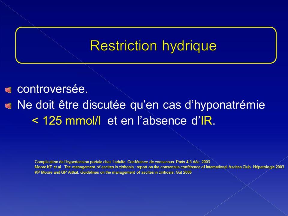 controversée. Ne doit être discutée quen cas dhyponatrémie < 125 mmol/l et en labsence dIR. Complication de lhypertension portale chez ladulte. Confér