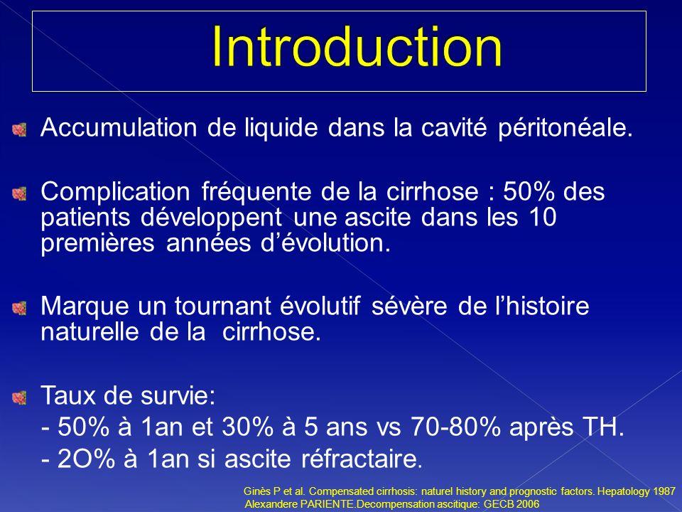 Accumulation de liquide dans la cavité péritonéale. Complication fréquente de la cirrhose : 50% des patients développent une ascite dans les 10 premiè