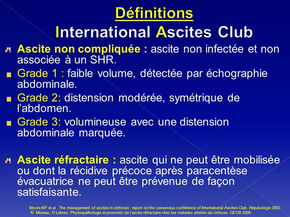Ascite non compliquée : ascite non infectée et non associée à un SHR. Grade 1 : faible volume, détectée par échographie abdominale. Grade 2: distensio