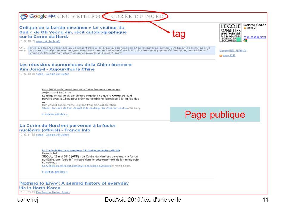 carrenejDocAsie 2010 / ex. d une veille11 tag Page publique