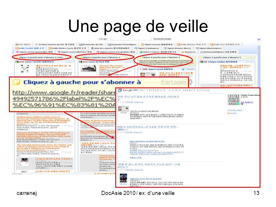 carrenejDocAsie 2010 / ex. d une veille13 Une page de veille