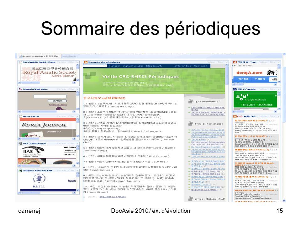 carrenejDocAsie 2010 / ex. d évolution15 Sommaire des périodiques
