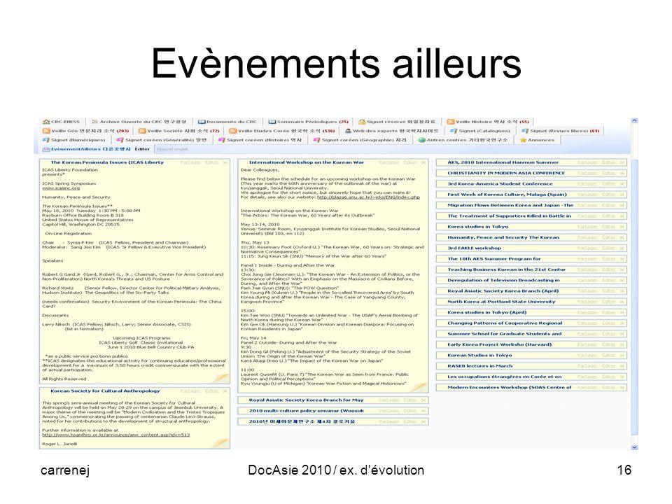 carrenejDocAsie 2010 / ex. d évolution16 Evènements ailleurs