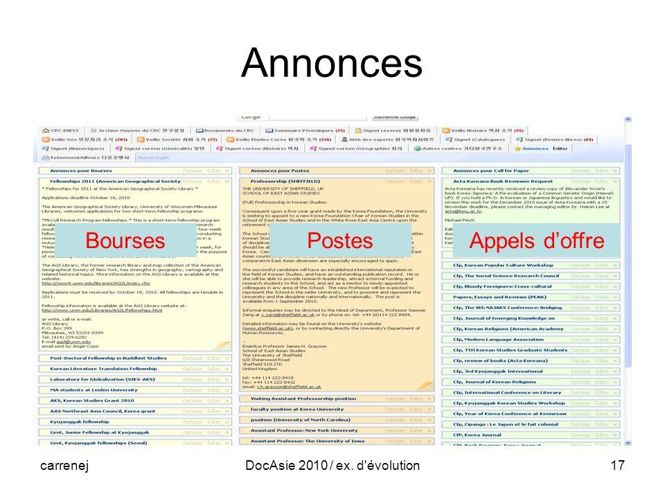 carrenejDocAsie 2010 / ex. d évolution17 Annonces BoursesPostesAppels doffre
