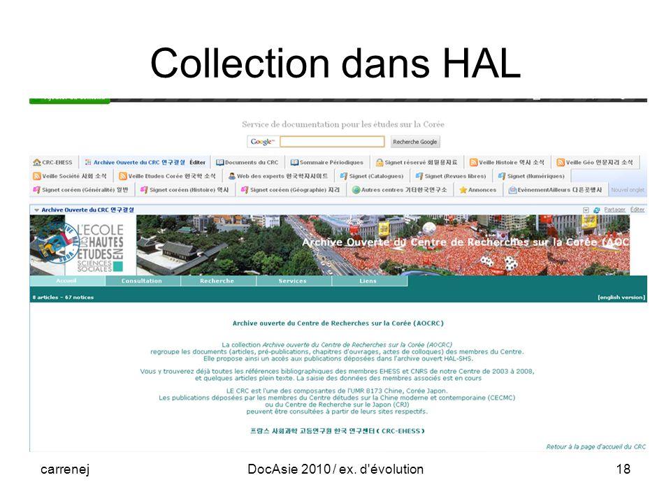 carrenejDocAsie 2010 / ex. d évolution18 Collection dans HAL