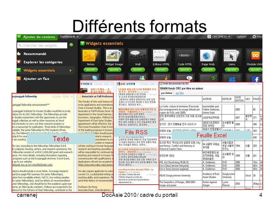 carrenejDocAsie 2010 / cadre du portail4 Différents formats