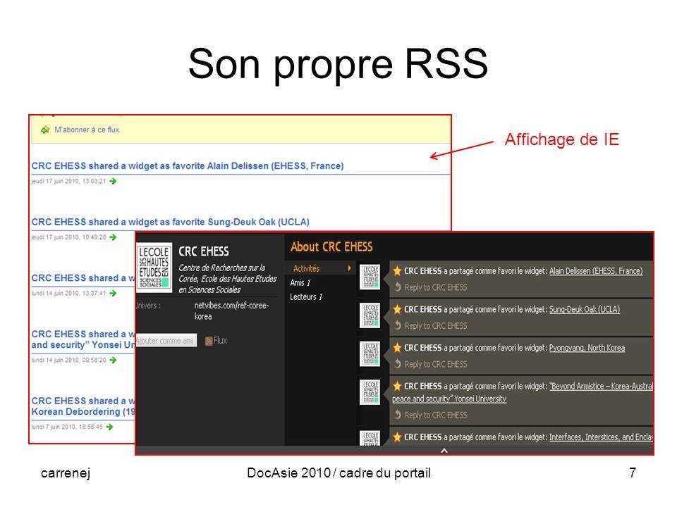 carrenejDocAsie 2010 / cadre du portail7 Son propre RSS Affichage de IE