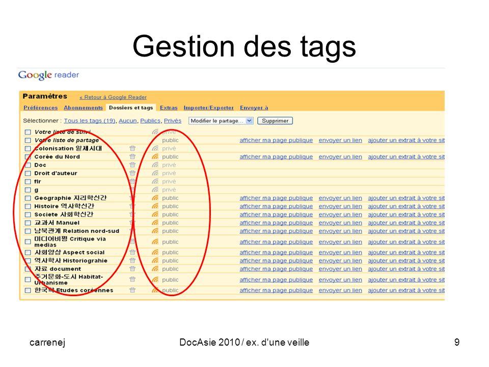 carrenejDocAsie 2010 / ex. d une veille9 Gestion des tags