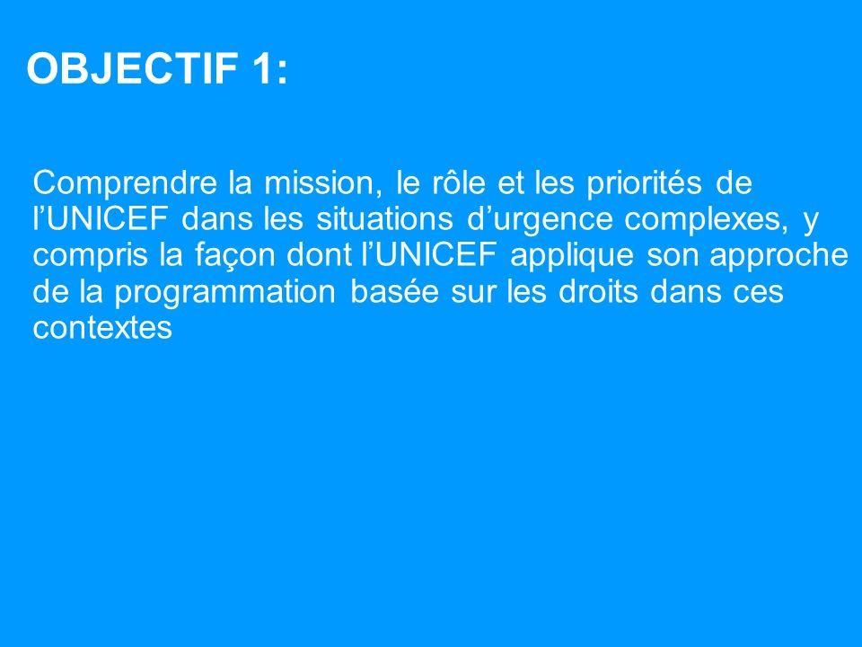 OBJECTIF 1: Comprendre la mission, le rôle et les priorités de lUNICEF dans les situations durgence complexes, y compris la façon dont lUNICEF applique son approche de la programmation basée sur les droits dans ces contextes