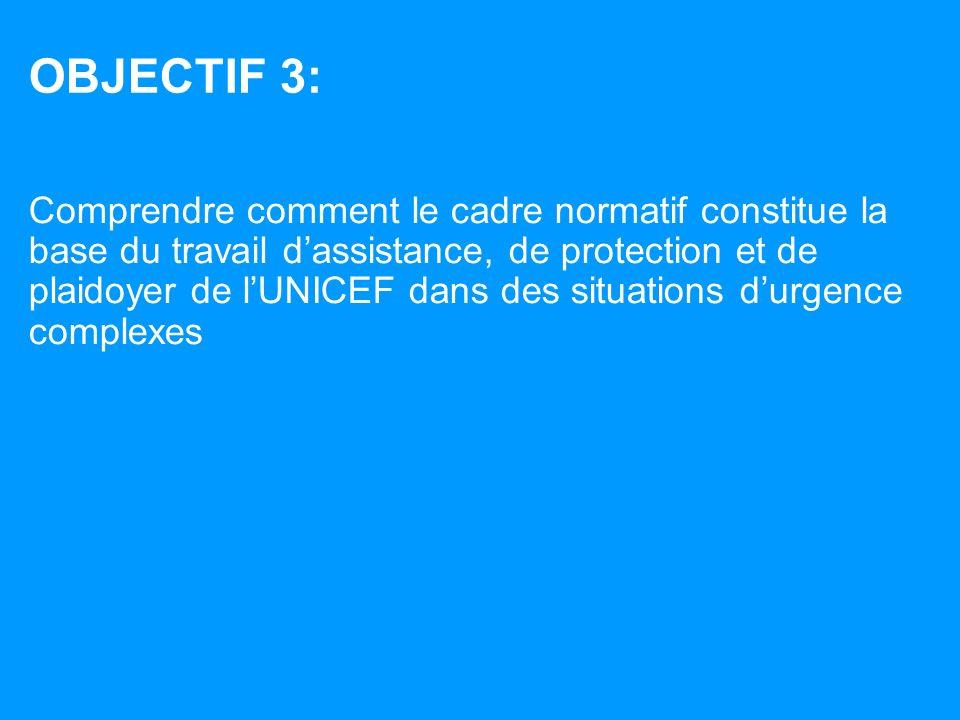 OBJECTIF 3: Comprendre comment le cadre normatif constitue la base du travail dassistance, de protection et de plaidoyer de lUNICEF dans des situations durgence complexes