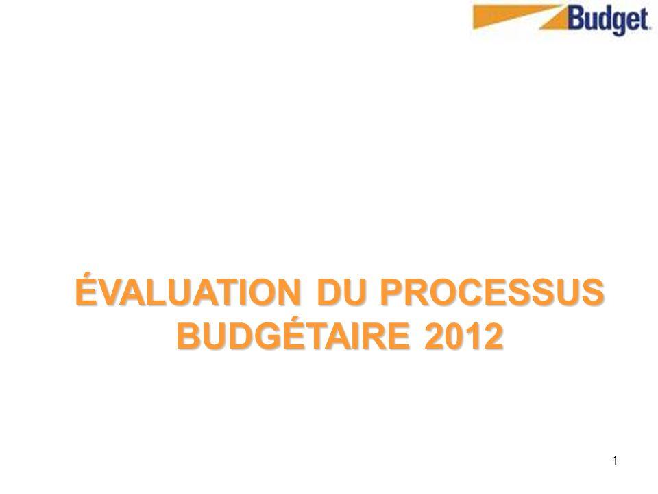 1 ÉVALUATION DU PROCESSUS BUDGÉTAIRE 2012