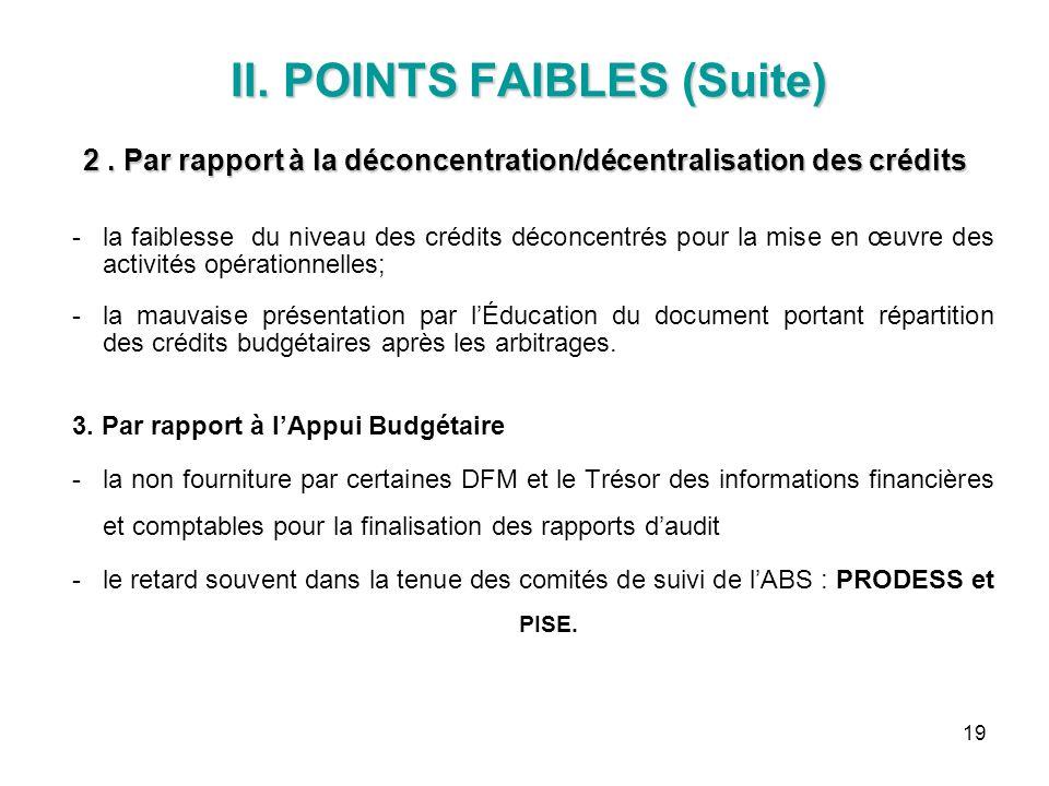 19 II. POINTS FAIBLES (Suite) 2. Par rapport à la déconcentration/décentralisation des crédits II. POINTS FAIBLES (Suite) 2. Par rapport à la déconcen
