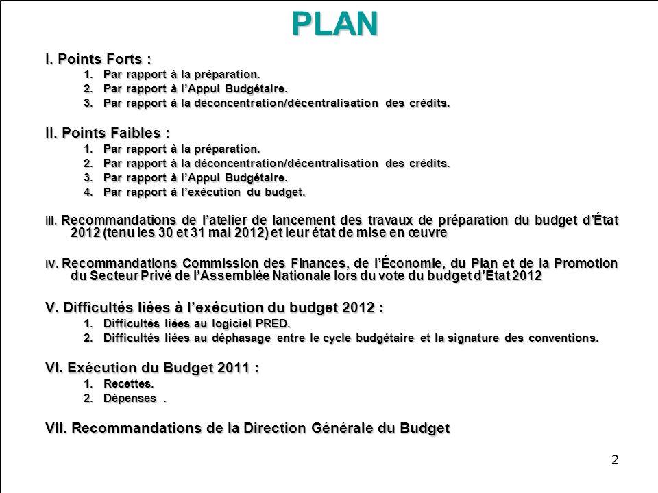 2PLAN I. Points Forts : 1.Par rapport à la préparation. 2.Par rapport à lAppui Budgétaire. 3.Par rapport à la déconcentration/décentralisation des cré