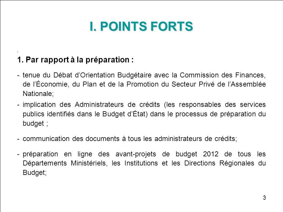 I. POINTS FORTS 1. Par rapport à la préparation : tenue du Débat dOrientation Budgétaire avec la Commission des Finances, de lÉconomie, du Plan et de