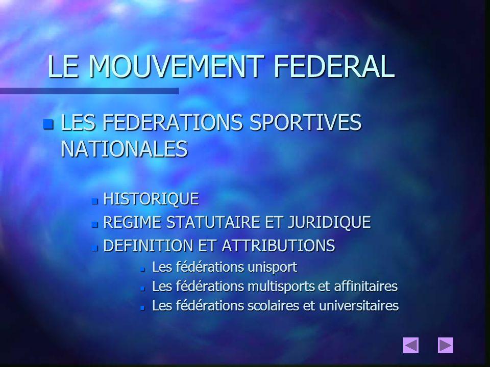 MOUVEMENT FEDERAL 2 catégories de Fédérations sportives doivent être distinguées en vue de leurs attributions : - Les fédérations agréées - Les fédérations délégataires