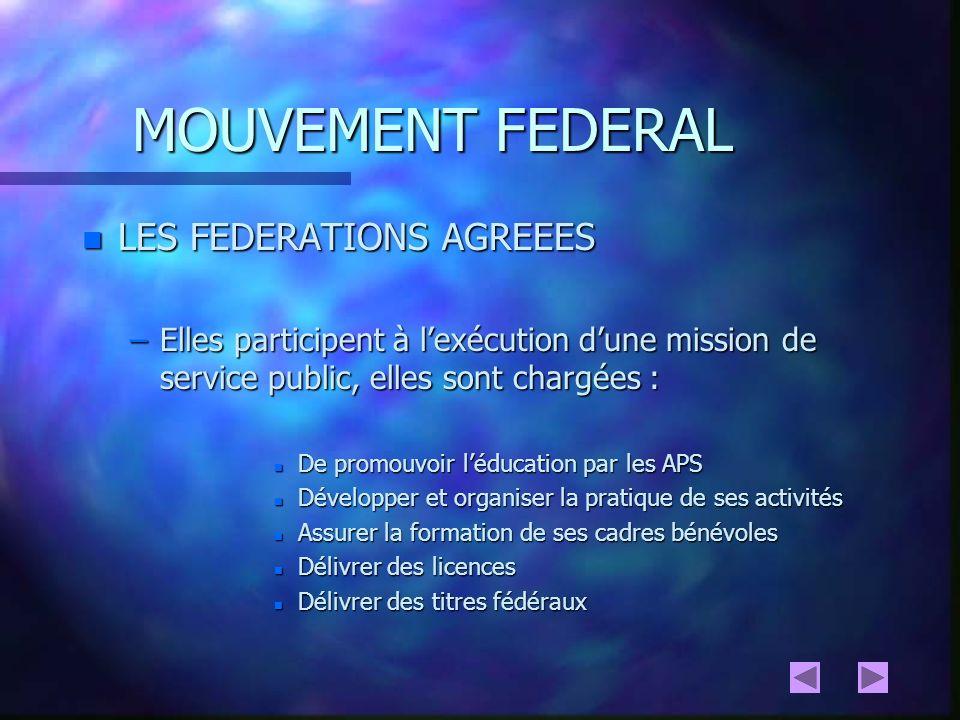 MOUVEMENT FEDERAL n LES FEDERATIONS DELEGATAIRES n CADRE JURIDIQUE (art 17 Loi du 16 juillet 1984 modifiée) –Elles sont directement chargées de lexécution dune mission de service public