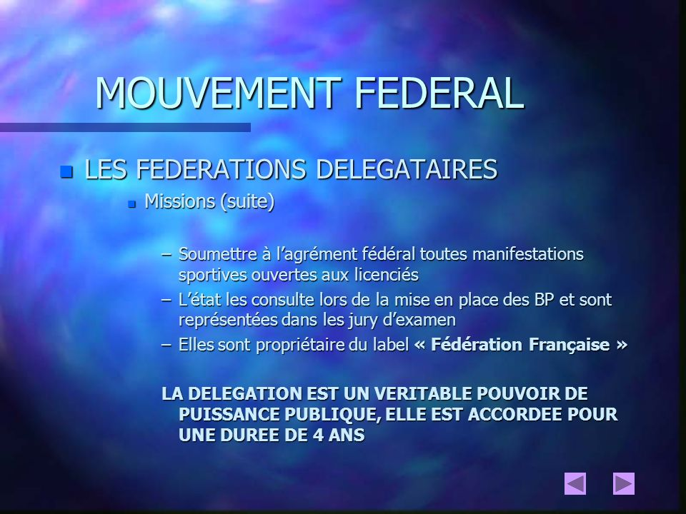 MOUVEMENT FEDERAL n ORGANISATION DES FEDERATIONS NATIONALES n STRUCTURATION PYRAMIDALE n SYSTEME DE DELEGATION TERRITORIALE SUR LES ORGANES INTERNES