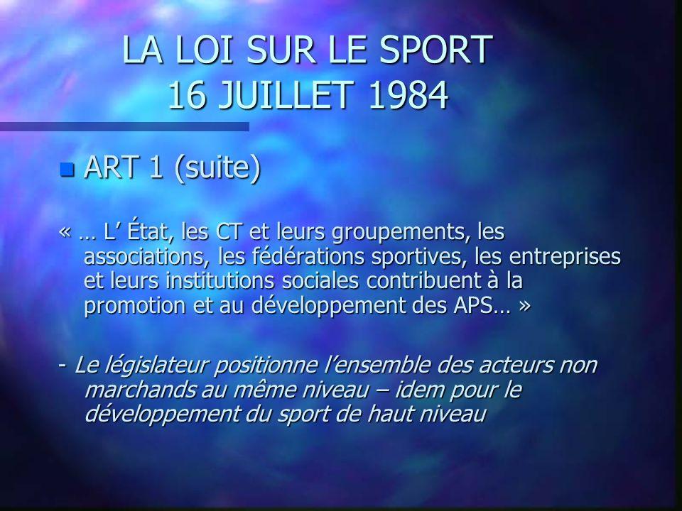 LA LOI SUR LE SPORT 16 JUILLET 1984 n ART 1 (suite) « l État est responsable de l enseignement de lEPS, placée sous lautorité du ministre chargé de l Éducation Nationale.