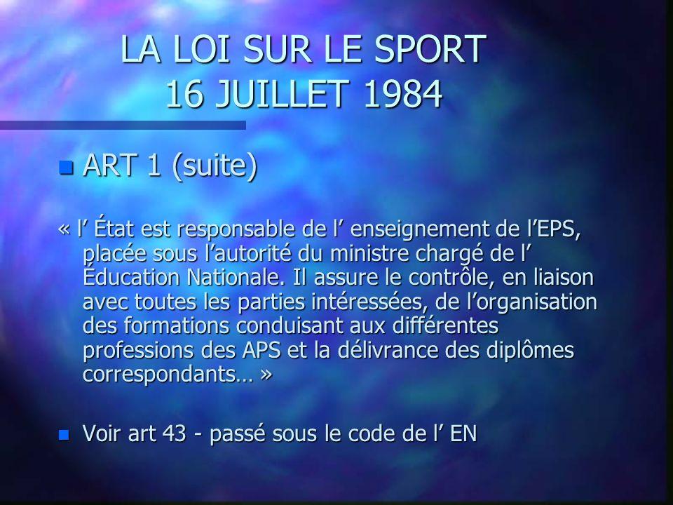 LA LOI SUR LE SPORT 16 JUILLET 1984 n Art 16 – L agrément n Art 17 – La délégation