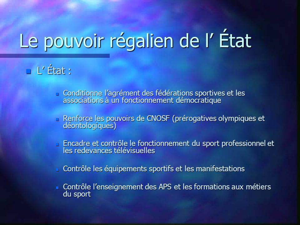 LADMINISTRATION DE L ETAT n LADMINISTRATION CENTRALE (le ministère) n LES SERVICES DECONCENTRES (DRJS & DDJS) n L INSTITUT NATIONAL (INSEP) n LES ECOLES NATIONALES n LES ETABLISSEMENTS REGIONAUX (CREPS)