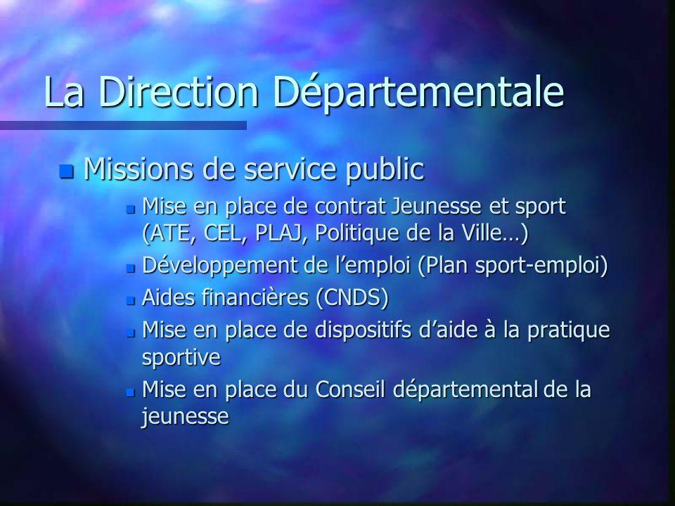 La Direction Départementale n Missions locales n Développement des Sports de Pleine Nature n Développement du tourisme sportif